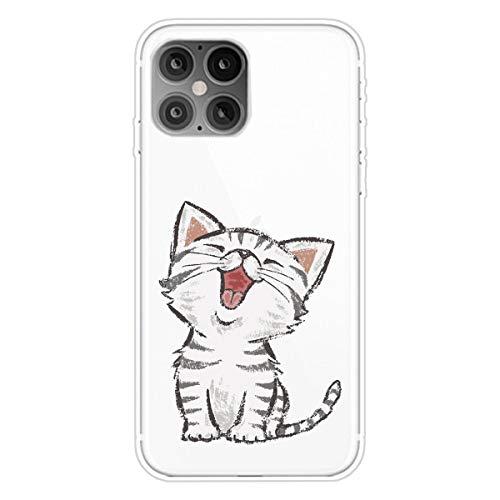 """Nadoli Transparent Silikon Hülle für iPhone 12 Mini 5.4"""",Durchsichtig Klar Lustig Kreativ Leicht Dünn Weiche Stoßfest Handyhülle Schutzhülle mit Weiß Katze Muster"""