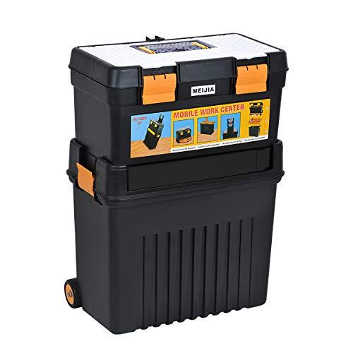 """MEIJIA Caja de almacenamiento portátil para herramientas rodantes, organizador con ruedas y bandeja extraíble, negro y amarillo,18.5""""x11.61""""x 25"""""""