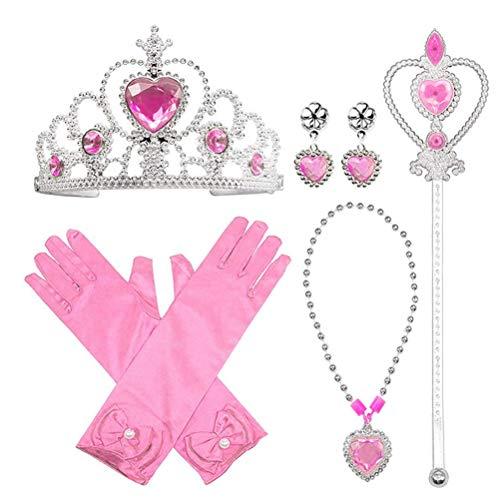 ZIXIXI Juego de accesorios, accesorios de vestir de princesa, juego de 5 piezas, corona de diamante, varita de copo de nieve, 1 par de guantes, collar, 1 par de pendientes