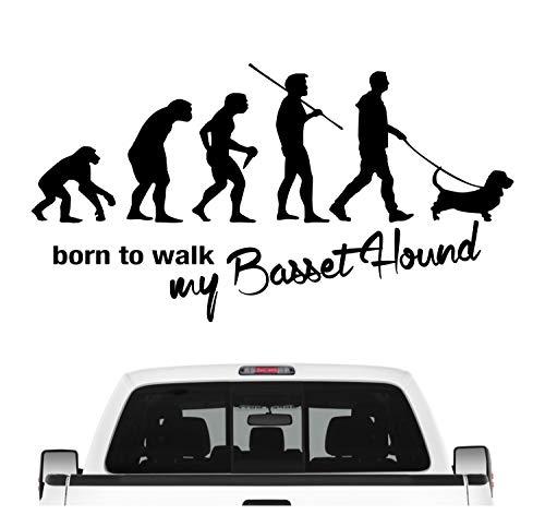 Siviwonder Basset Hound Hush Puppy Evolution Autoaufkleber Hund Aufkleber Folie Farbe Schwarz Matt, Größe 60cm