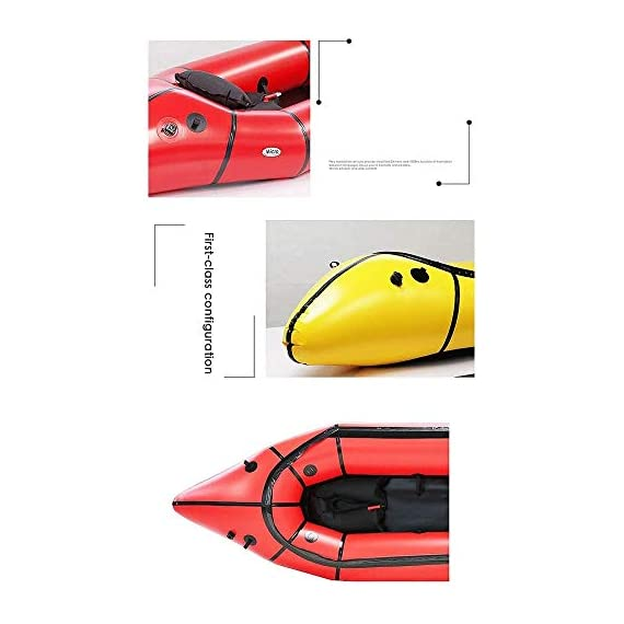 JNWEIYU Inflatable Kayak,Standard Single Boat Without Pulp, Can Be Used for White Water Level 3 Adventure Rafting… 6 LARGE LOAD: This kayak can bear 150 kg weight, enough for 1 persons operate, enough space and convenient to use. Made of high quality thicken PVC material which has 0.3mm thickness, can resist tear, high strength, not easy to be damage. INFLATABLE DESIGN: The inflatable design make it convenient to store when not use, double valve help to finish inflating quickly.