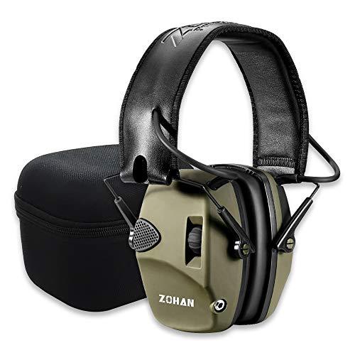 ZOHAN 054 Casco Tiro Electronico Almohadilla Reemplazable, SNR 27dB Reducción de Ruido Ajustable, Protectores Auditivos Caza Amplificador de Sonido, Verde