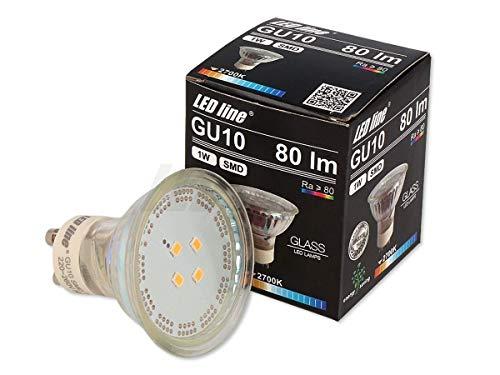 5 x LED Line GU10 1W LED lampadina 120° SMD 6500 K luce bianca fredda 80 Lumen faretto in vetro da incasso a risparmio energetico