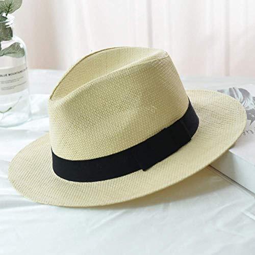 WYRKYP Sombrero de Sol Sombrero de Verano Sombrero Señoras Sombrero de Paja Sombrero de Color Sólido Sombrero de Ala Ancha con Sombrero de Sol Unisex,Beige