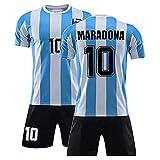 KuanDar clo Argentinien 1986 Trikot, Maradona # 10 Retro Gedenk Fußball Trikot Set, Fans Gedenk Fußball Uniformen, Mexiko 1986 Weltmeisterschaft Argentinien Team Retro Fußball Kleidung (L)