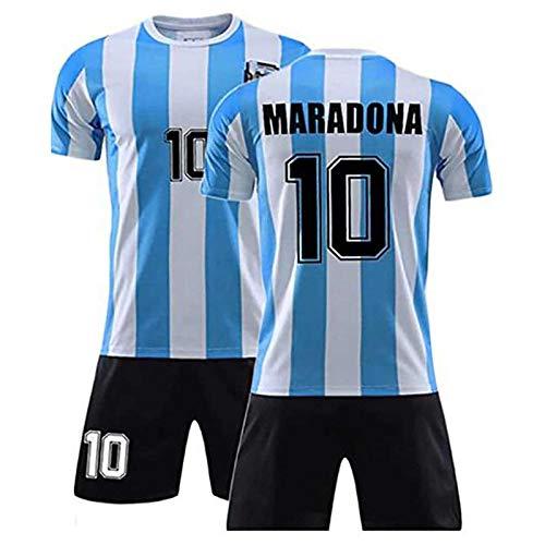 Maglia Dell'Argentina 1986,Maglia Calcio Retro Commemorativa Maradona N.10,Divise Calcio Commemorative Tifosi,Abbigliamento Calcio Della Squadra Argentina Della Coppa Del Mondo Del Messico 1986 (L)