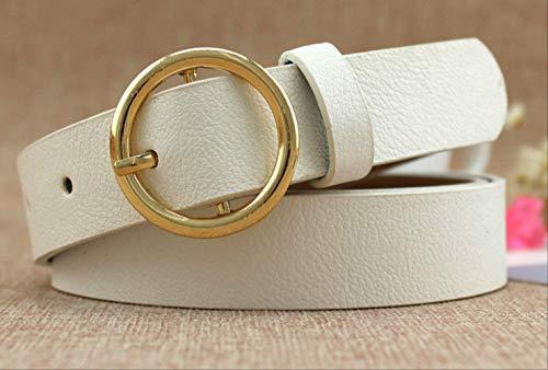GNCBECinturón para Mujer Diseño Decorado Oro Hebilla Hebilla Cuero Moda Correa Blanca Jeans Accesorios Correa De Mujer PU Off Cinturón Blanco
