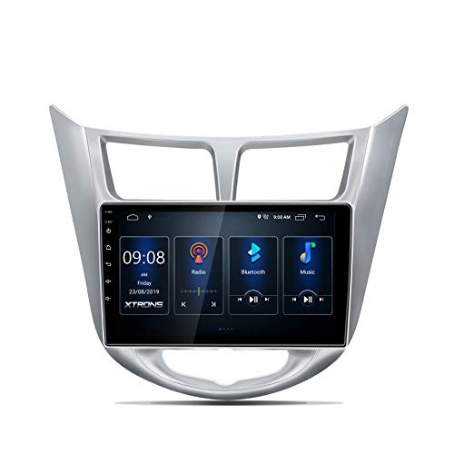 XTRONS Android 10.0 Car Stereo Radio Player 9 Inch IPS Touch Screen GPS Navigation Built-in DSP Bluetooth Head Unit Supports Full RCA Output Backup Camera WiFi OBD2 DVR TPMS for Hyundai Accent Verna
