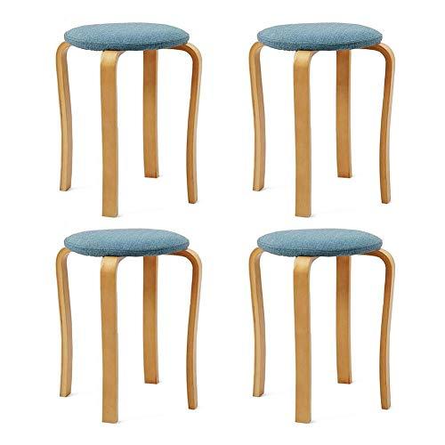 JIEER-C vrijetijdsstoel, kruk, rond, voor eettafel, massief hout, kruk van hout, modern, eenvoudig, restaurant, stack, kruk, 4 stuks, robuust Wood color Blauw