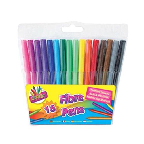 16 x viltstiften voor kinderen, vezels, verschillende kleuren.
