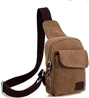 حقيبة قماش للرجال-بني - حقائب طويلة تمر بالجسم