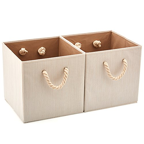 EZOWare Set of 2 Foldable Bamboo Fabric Storage Bin with Cotton Rope Handle, Collapsible Resistant Basket Box Organizer for Shelves, Closet, and More – Beige (13x13x13inch)