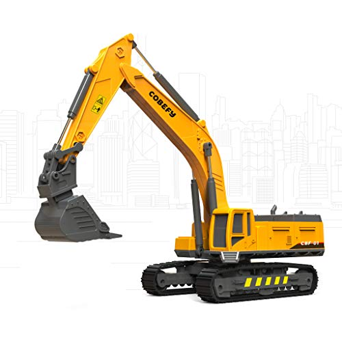 Construction Truck Toy Excavator with 4 Interchangeable Functional Parts, Sandbox Vehicle Digger Toy for Boys, Gifts for 3 4 5 6 Years Old Kids Toddlers Children
