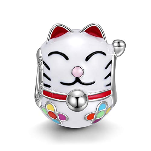 NINAQUEEN Charm fit Pandora Charms Bracelets Valentines Gifts for Women Girls Cat Animal Silver Beads