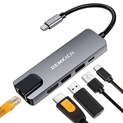 5 en 1 Adaptador USB C para MacBook Pro MacBook Air 2020/2019 y más Dispositivos USB c, DEMKICO Hub USB C con 4K HDMI, 100 Mbps Ethernet RJ45 LAN, 2 USB 3.0 y Puerto USB C PD
