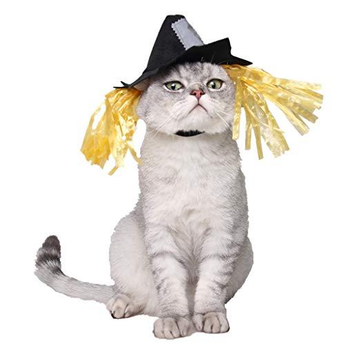 GUMEI Mascota Gato Perro Halloween Vacaciones espantapjaros Sombrero Disfraz Cosplay Disfraz Sombrero