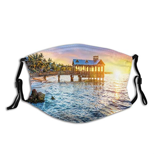 Comfortable Activated Carbon mask,Pier At Beach In Key West Florida USA Tropical Summer Paradise,Printed Facial decorations for adult