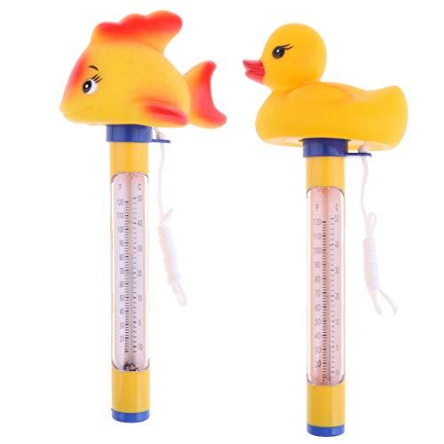 F Fityle 2 X Duck & Goldfish Spa Und Poolthermometer Mit Faden Und Bruchsicherer Gehäuseleine, Fahrenheit Und Celsiusanzeige
