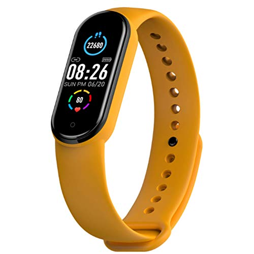 Wsaman Contador de Calorías Actividad Tracker Smartwatch Impermeable IP68 Deportivos Fitness Tracker Cardíaco Pulsera de presión Arterial, con Pantalla Táctil para Android/iOS/Hombre/Mujer,Amarillo