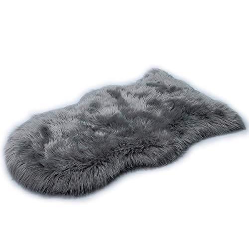 KAIHONG Faux Lammfell Schaffell Teppich (50 x 80 cm) Lammfellimitat Teppich Longhair Fell Optik Nachahmung Wolle Bettvorleger Sofa Matte (Grau, 50x80cm)