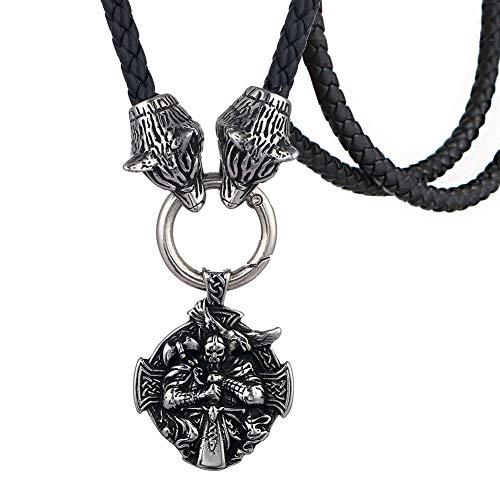 WDBAYXH Viking Odin Colgante Doble Cabeza de Lobo Collar de Cordón Cuero, Nórdico Hecho a Mano de Acero Inoxidable Talismán Amuleto Protección Celta Joyería Pagana para Hombres Unisex,70CM
