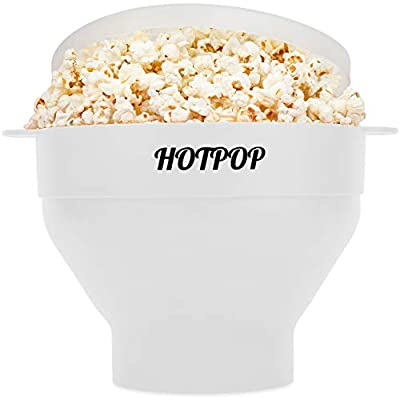 The Original Hotpop Microwave Popcorn Popper, Silicone Popcorn Maker, Collapsible Bowl Bpa Free and Dishwasher Safe- 12 Colors Available (White)