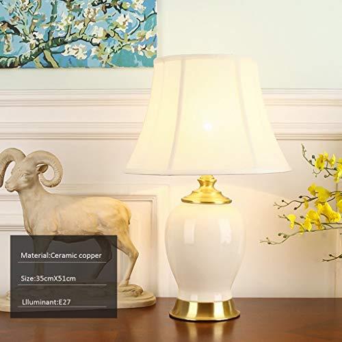 FMEZY Amerikaanse keramische lamp, eenvoudige bureaulamp, moderne Europese stijl woonkamer volledig koper tafellamp, studie decoratie bureau verlichting (kleur :b)