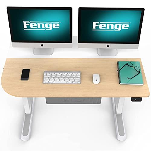 Fenge Escritorio Eléctrico de Altura Ajustable 110x60 cm con Cajones de Almacenamiento (Blanco) EDF4306WO-EU