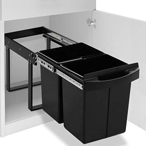 vidaXL Cubo de Basura de Cocina Extraíble Reciclaje Cierre Suave Papelera Contenedor Basurero en Cocina Hogar Oficina Higiénico 48 L