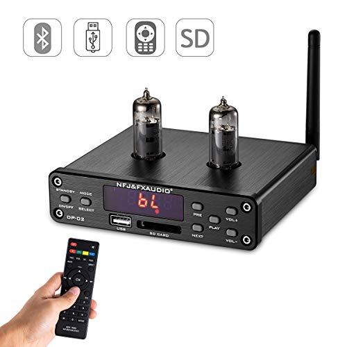 Nobsound HiFi 6K4 Vacuum Tube Preamplifier, Wireless Audio Hi-Fi Stereo Preamp, Remote Control, Bluetooth, U-Disk, SD Card, 3.5mm AUX, RCA Inputs (Black)