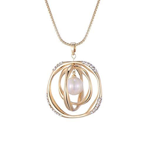 YUANYUAN520 Regalos De La Joyería Redonda Grande De Perlas De Cristal Colgante Collar De Accesorios De Belleza De Oro Rosa De Plata con Cadena Larga del Partido Mujer For El Collar Joyería