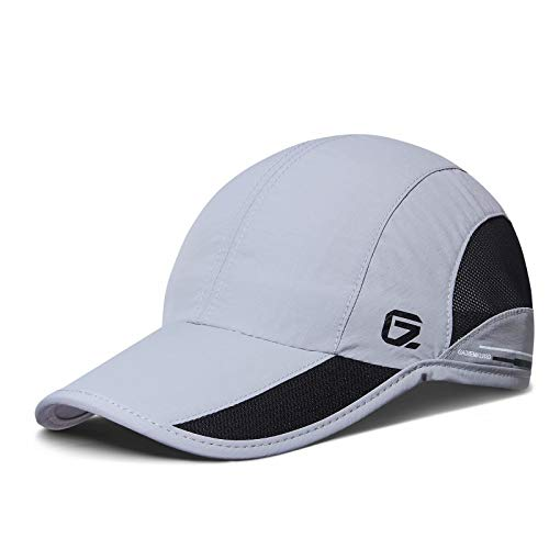 GADIEMKENSD Quick Dry Sports Hat Lightweight Breathable Soft Outdoor Running Cap (Classic UP, Light Gray)
