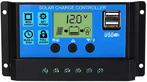 60A Solar Panel Battery Charge Regulator, 12V/24V PWM Auto Adjustable LCD Display, Solar Panel Controller with 5V Dual USB Output