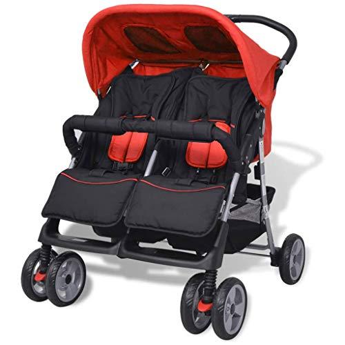 vidaXL Zwillingsbuggy Stahl Buggy Geschwisterkinderwagen Zwillingswagen Baby