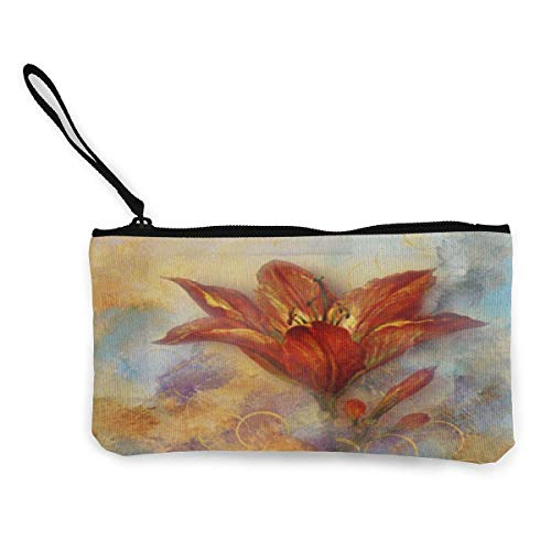 XCNGG Geldbörsen Shell Aufbewahrungstasche Watercolor Floral Bloom Canvas Change Purse Cellphone Clutch Purse with Wrist Strap Multipurpose Cosmetic Bag Zip Mini Wallet for Travel Holiday