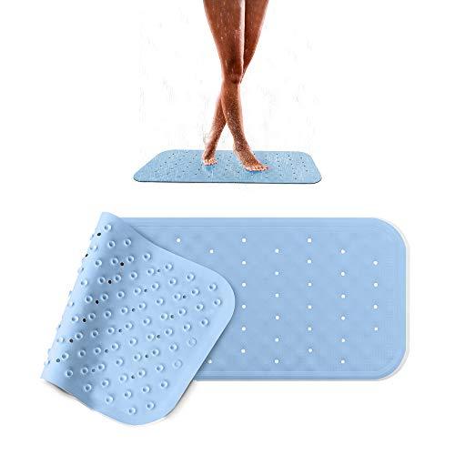 Pumpko® rutschfeste Badewanneneinlage aus Naturkautschuk | 36 x 97cm | Blau | Extra-Lange Badewannenmatte | Anti-Rutschmatte für Badewanne