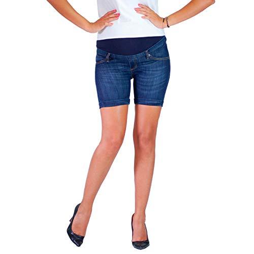 Ibiza - Pantalones Cortos de Maternidad Elásticos y Cómodos, Lavado de Lujo, Pantalones Cortos de Embarazo - Made in Italy (42, Denim)