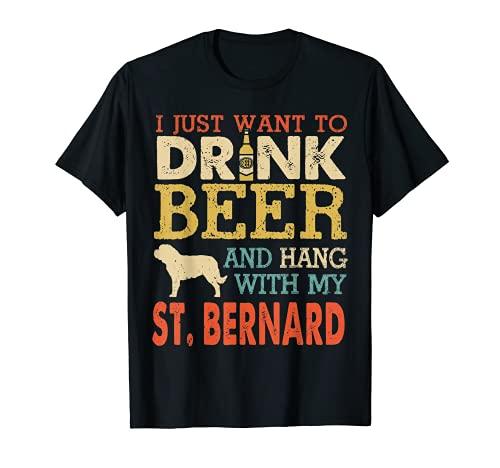 Papá San Bernardo Beber Cerveza Colgar Con Perro Funny Hombres Vintage Camiseta