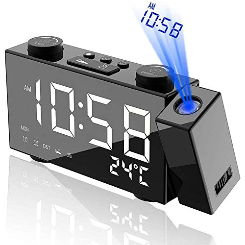 ZCME-power FM Radiowecker Projektionswecker,Projektionswecker Digitaler Wecker Wetterstation mit Außensensor LED-Anzeige Dual-Alarm Uhrzeit Temperatur Luftfeuchtigkeit