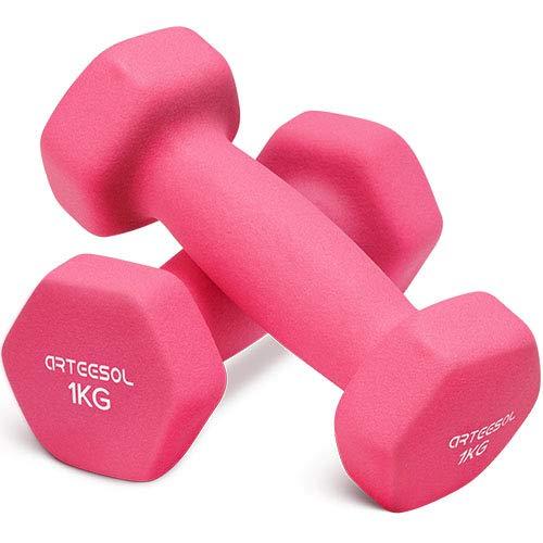 arteesol Mancuernas de Neopreno Peso 1kg/2kg/3kg/4kg/5kg/8kg/10 kg en Pares para Hombres Mujeres Niños Adultos Juego de Pesas de Levantamiento Ejercicios (1kg*2-Pink)