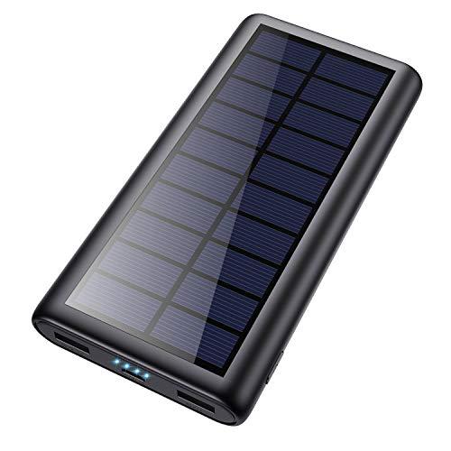 Feob Solar Powerbank 26800mAh, Solarladegerät 【Energiesparende Version】 Externer Akku Hohe Kapazitat Power Bank Fast Charge Tragbares Ladegerät Akkupack für iPhone Samsung und mehr