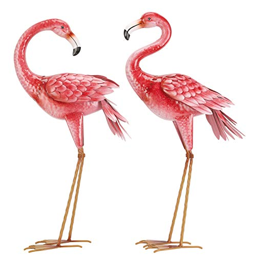 Kircust Flamingo Garden Statues and Sculptures, Metal Birds Yard Art Outdoor Statue, Large Pink Flamingo Lawn Ornaments for Home, Patio, Backyard Decor (2-Pack)