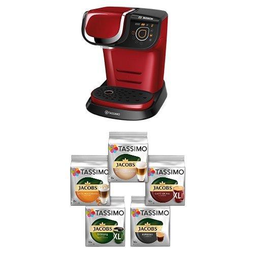 Bosch Tassimo My Way TAS6003 Multigetränkeautomat + Tassimo Vielfaltspaket - 5 verschiedene Packungen kaffeehaltiger Getränke T Discs