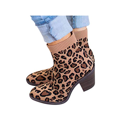 Toimothcn Knitted Boots Women Chunky Heel Knitted Elastic Boots Leopard Print Sock Ankle Booties Shoes Brown