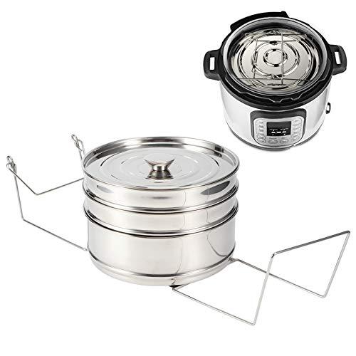 Olla de vapor, utensilios de cocina de acero inoxidable, vaporera, olla de cocina, cesta de vapor, 3 niveles para verduras, pescado, arroz, carne