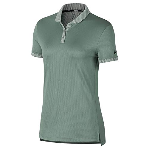 NIKE Dri Fit 3 Button Placket Shortsleeve Textured Golf Polo 2018 Women Clay Green/Black Large