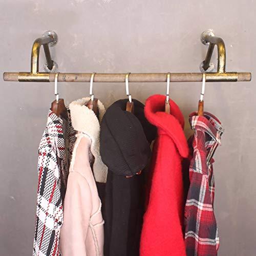 Vintage Holz Wand hängende Kleidung Stange, Eisen Rohrhalter Kleiderstange Garment Rack-Handel Kleidung Display Rack, Gold Bracket (Size : 60x29x16cm)