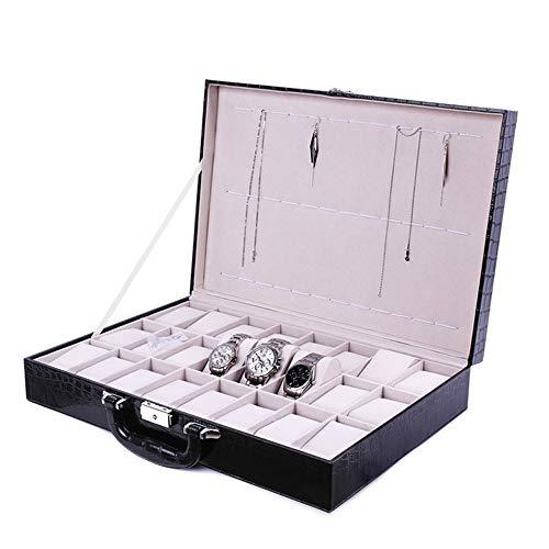 Houten horlogedoos met 24 vakjes van hout, opbergdoos, horlogeweergavedoosje, bagage, PU-leer, geschikt voor mannen en vrouwen, horloge sieraden, bewaardoos, horlogeweergavedoos, opbergdoos