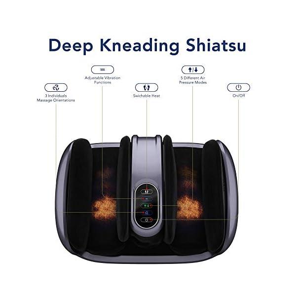 Miko Foot Massager Reflexology Machine with Shiatsu Massage Settings, Vibration, Kneading, Heat and Adjustable Bar for…