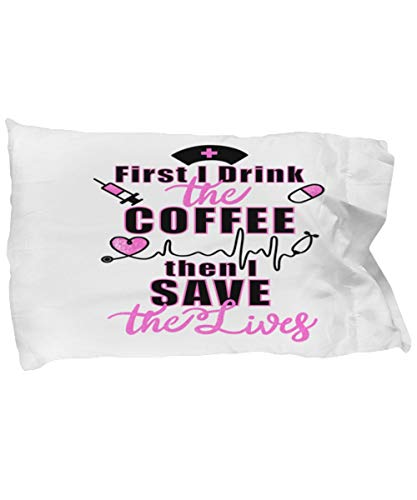 Nurse First I Drink The Coffee - Funda de almohada rústica con cita de granja
